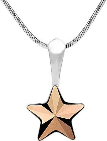 SILVEGO stříbrný přívěsek star s krystalem Swarovski bronze - VSW026P