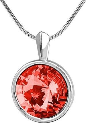 SILVEGO stříbrný přívěsek Swarovski rivoli 12mm světle červený - VSW025P