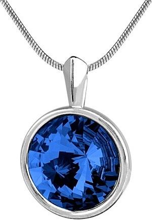 SILVEGO stříbrný tmavě modrý přívěsek s krystalem Swarovski rivoli 12mm - VSW014