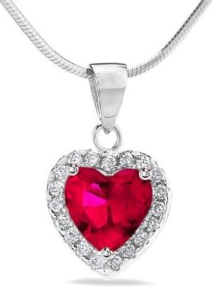 Stříbrný přívěsek srdce s červeným zirkonem - HHP1262