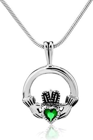 Stříbrný přívěsek Claddagh se zeleným zirkonem - PRMP21657