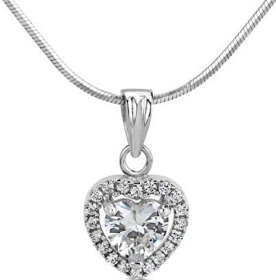 PRIA stříbrný přívěsek srdce s micro zirkony - SHZP0196