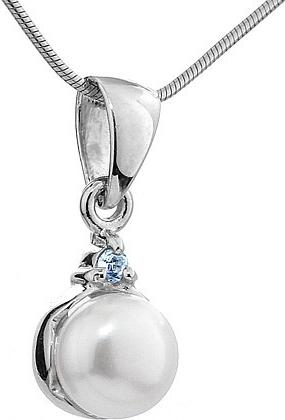 Stříbrný přívěsek MELIA s perlou a topazem - FNJP0710-TB