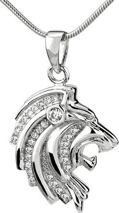 Přívěsek hlava lva ze stříbra s micro zirkonia - JJJP0100