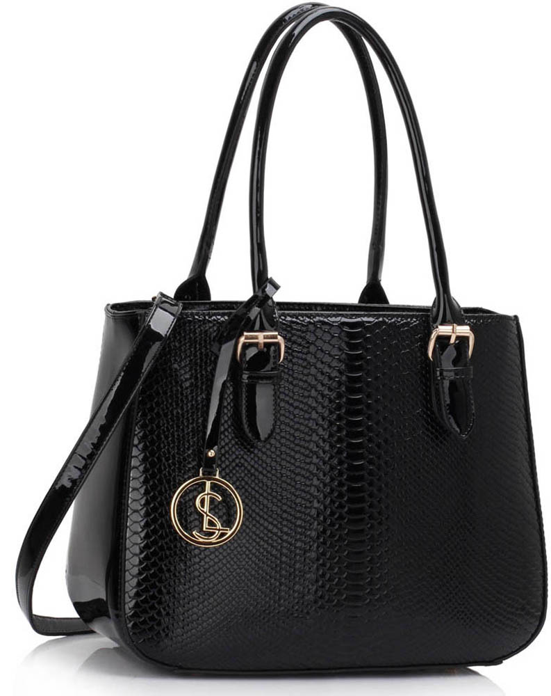 Kabelka LS00176 - Black Snakeskin Shoulder Bag