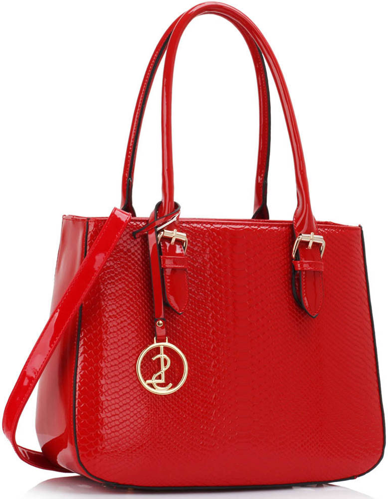 Kabelka LS00176 - Red Snakeskin Shoulder Bag