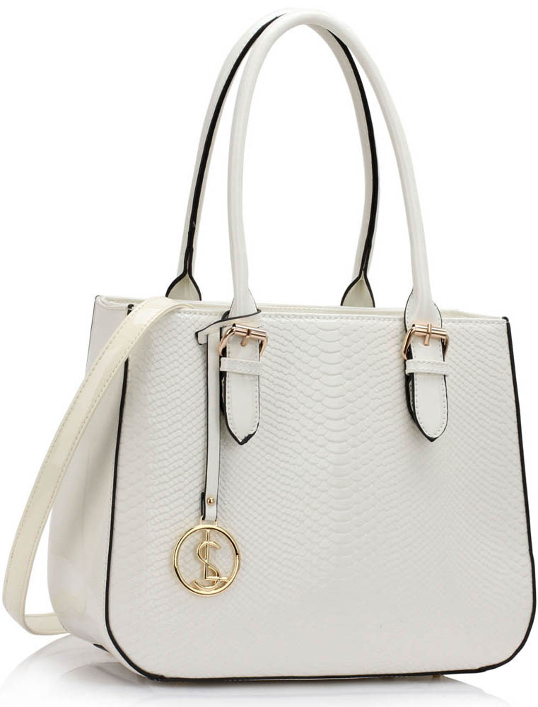 Kabelka LS00176 - White Snakeskin Shoulder Bag