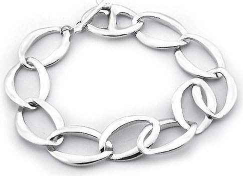 Náramek stříbrné oválky B0362