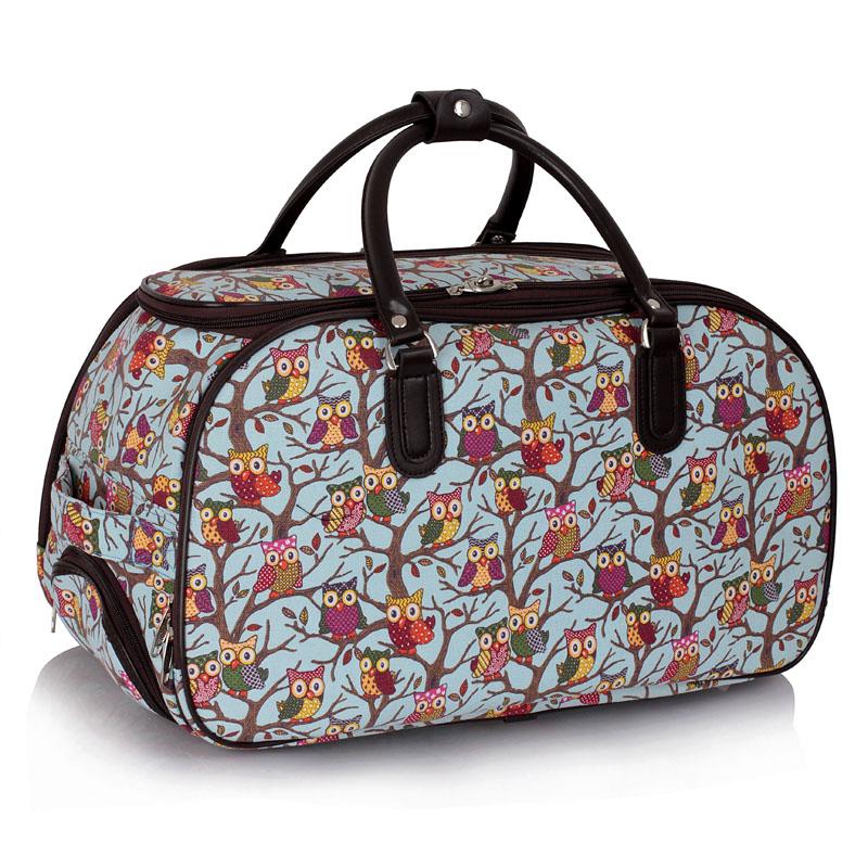 Cestovní taška LS00308 - Blue Owl Print Travel Holdall Trolley