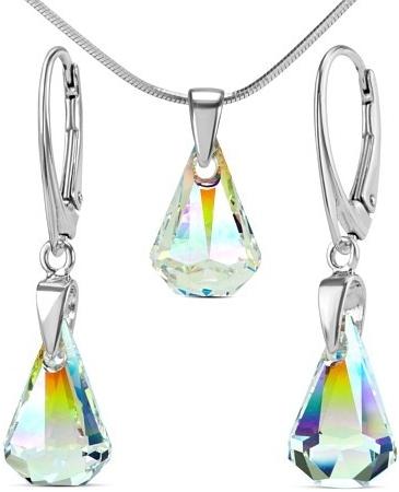 Souprava stříbrná XIRIUS Raindrop Crystal AB se Swarovski Elements LSW177S