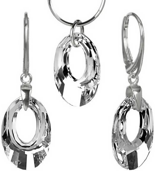 Luxusní stříbrná souprava Argent Helios 20mm se Swarovski Elements-LSW162S