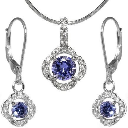 Dárková sada stříbrných šperků s křišťálem - JJJS2200