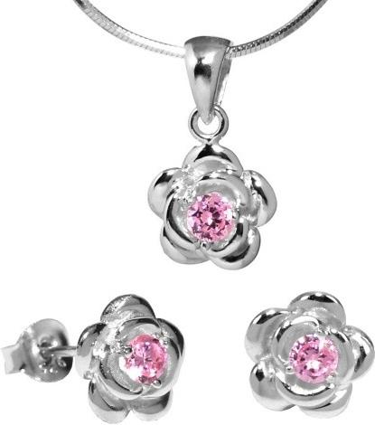 Stříbrný set květina s růžovým zirkonem - JJJS0404