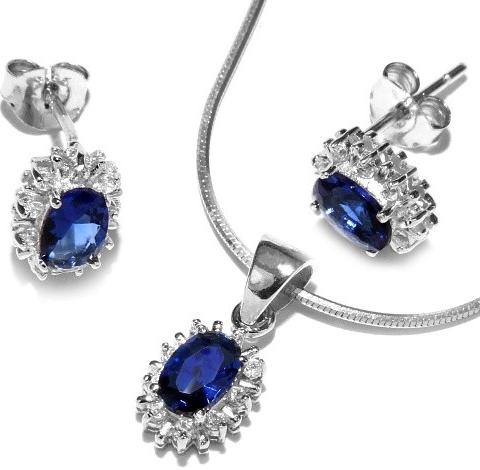 Modrá souprava šperků ze stříbra - JJJS182