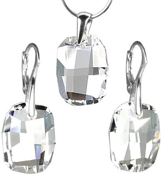Stříbrný set Graphic Crystal 19mm vyroben se SWAROVSKI ELEMENTS LSW129S