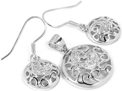 Moderní stříbrný set šperků se zirkony JSET626