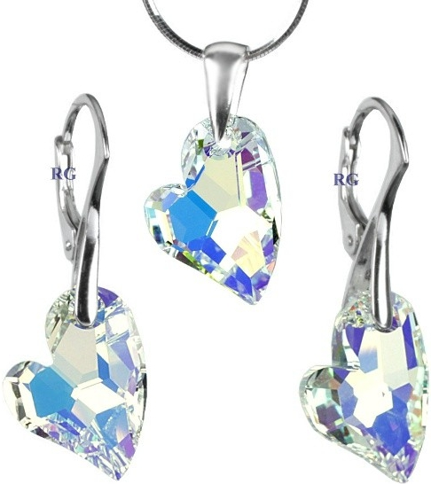 Stříbrný set Devoted 2 U Heart 17mm Crystal AB LSW125S