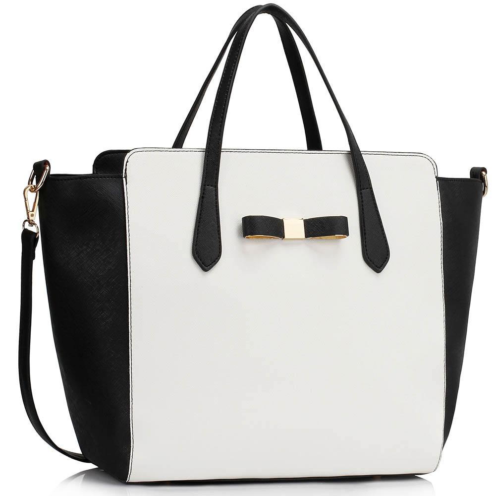 Kabelka LS00402 - Black / White Women's Large Tote Bag