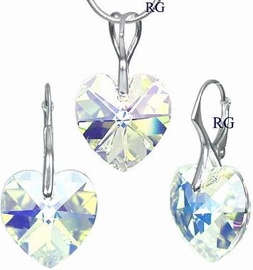 Stříbrná souprava Srdce Crystal AB vyrobena se Swarovski Elements LSW017S