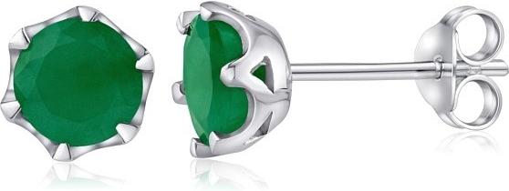 Náušnice stříbrné s pravým přírodním smaragdem FNJE0242em