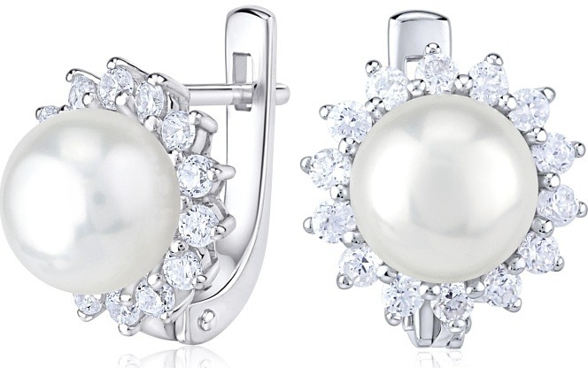 Náušnice stříbrné s přírodní bílou perlou FNJE0887pr