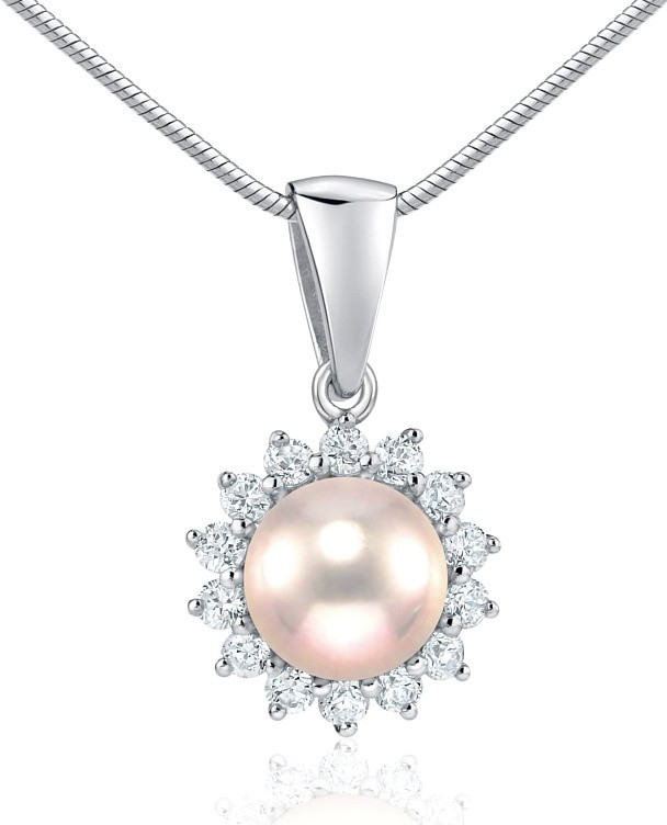 Stříbrný přívěsek s přírodní perlou v barvě pudru - FNJ0887PPP