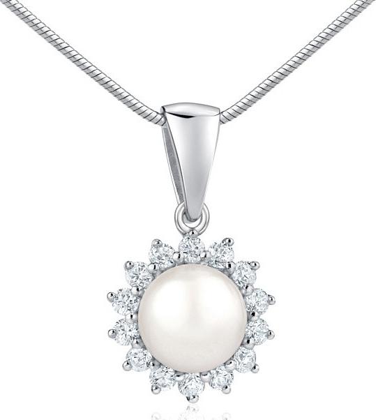 Stříbrný přívěsek s přírodní bílou perlou - FNJP0887pr