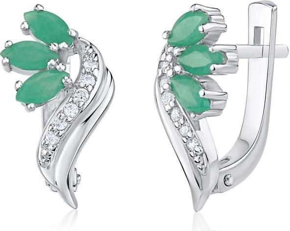 Náušnice stříbrné Viridas pravým přírodním smaragdem FNJE0963em