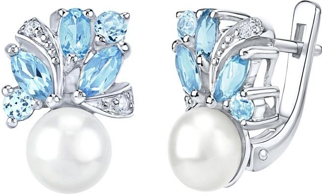 Náušnice stříbrné Marianne s přírodní perlou a pravým topazem FNJE0434tb