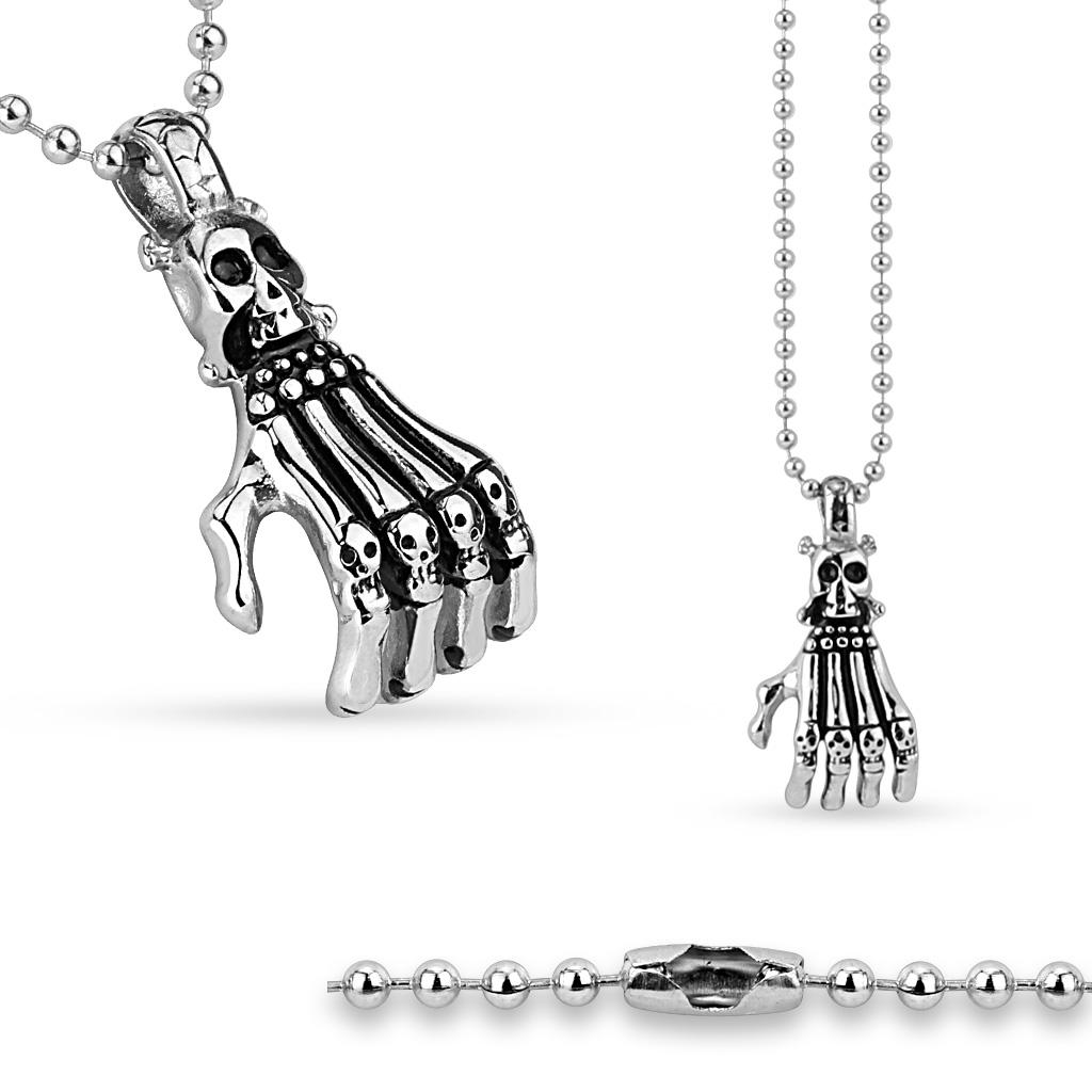 Ocelový náhrdelník Skull with Skeleton Hand SSPS-0101