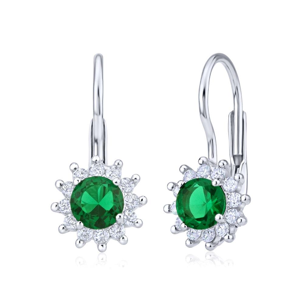 Stříbrné náušnice se smaragdově zeleným křišťálem YO3547GR