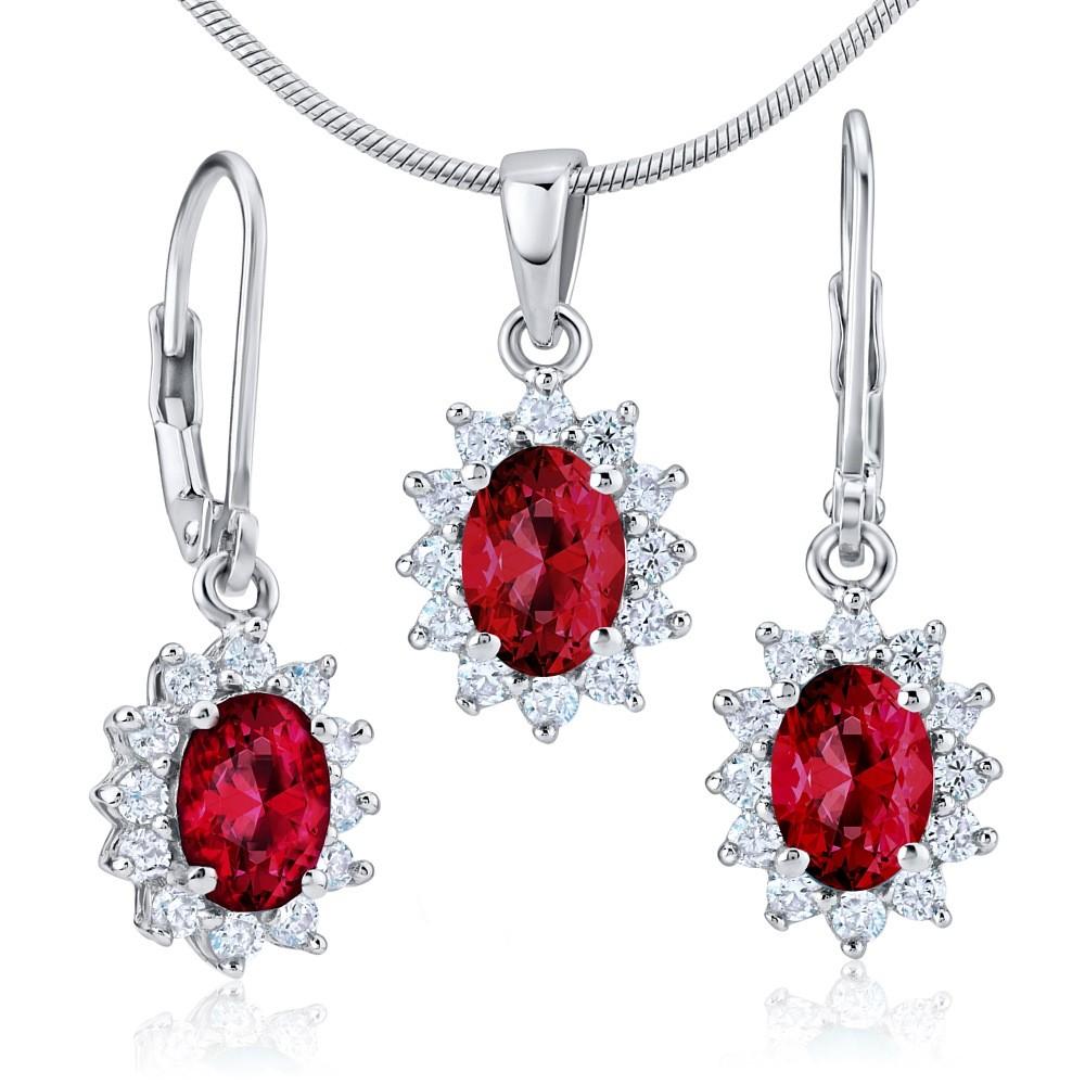 Dárková souprava stříbrných šperků - se syntetickým rubínem