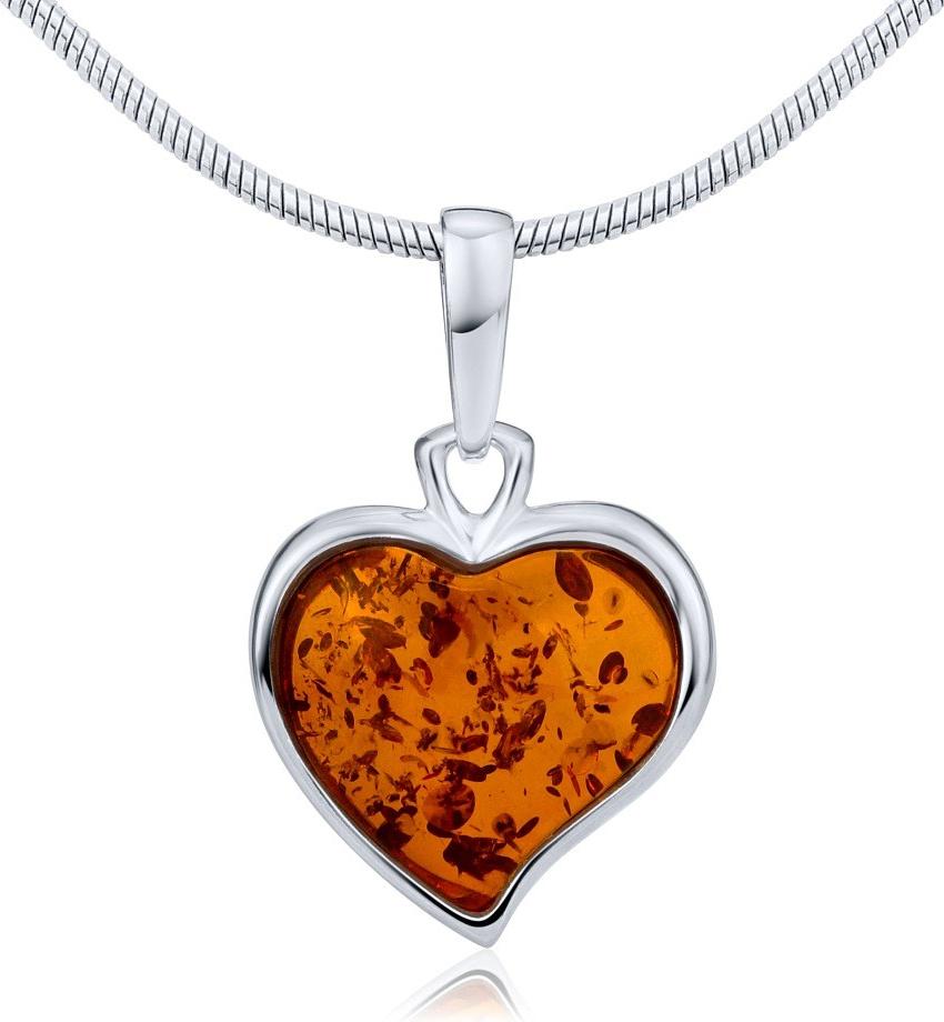 Stříbrný přívěsek srdce s přírodním jantarem - AAJP6HM56