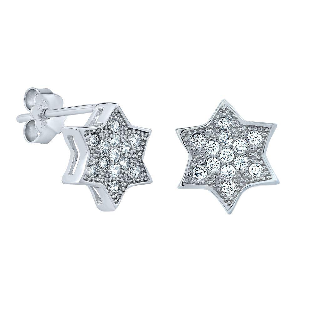 Stříbrné náušnice hvězdičky s puzetou SHZE03531