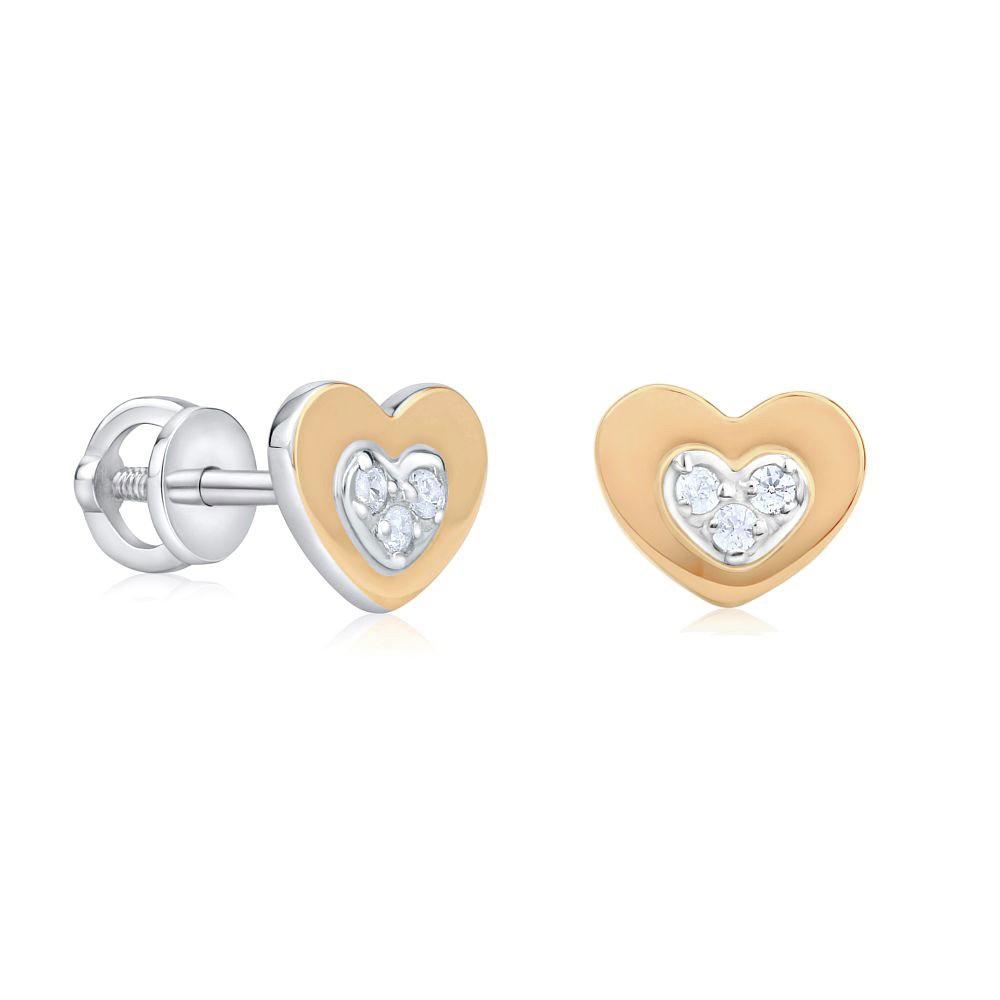 Srdíčkové náušnice ze zlata a stříbra