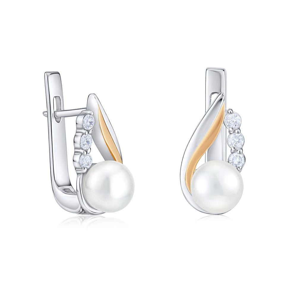 Perlové náušnice ze zlata a stříbra