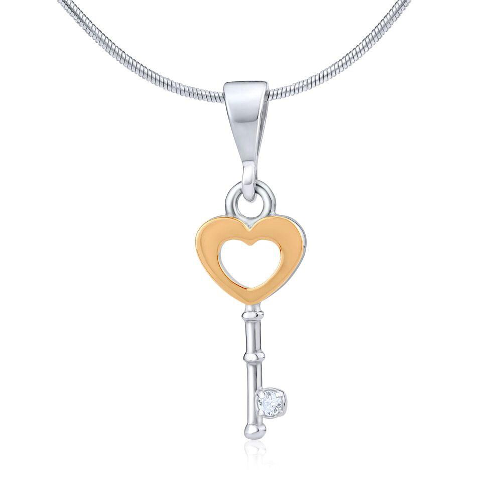 Přívěsek klíč se srdíčkem ze zlata a stříbra