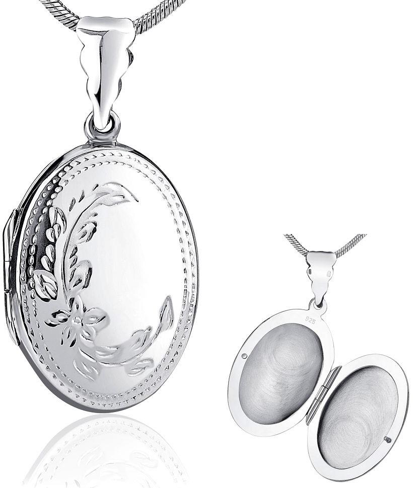 Stříbrný medailonek otevirací s rytím 27x20 mm - PRML10145