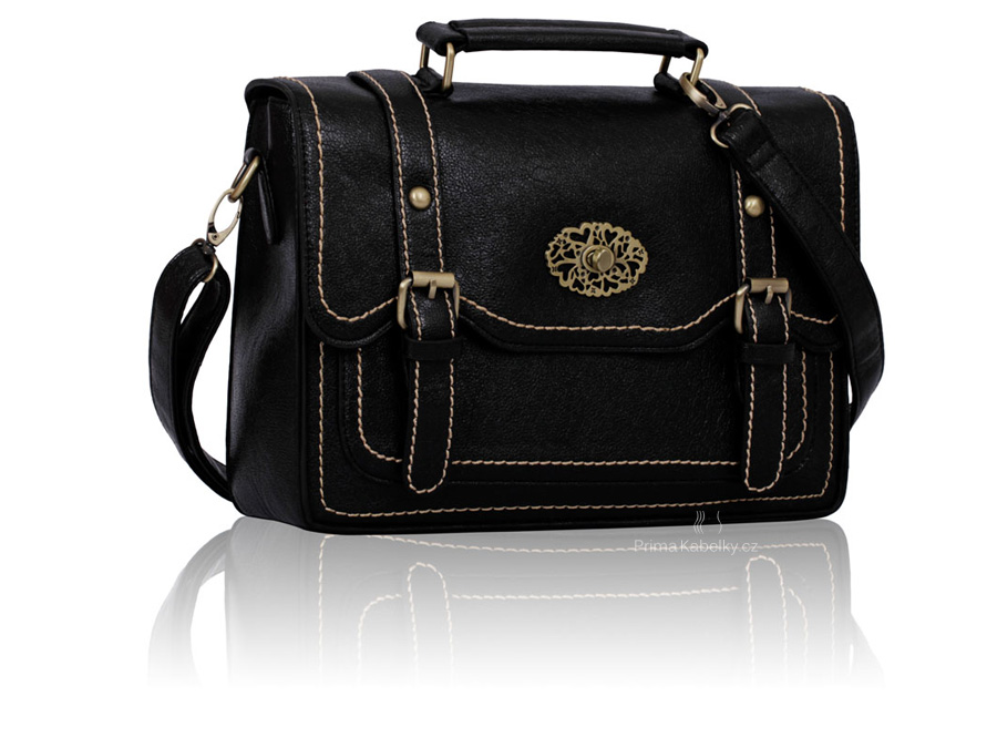 Kabelka Black Double Buckle Satchel
