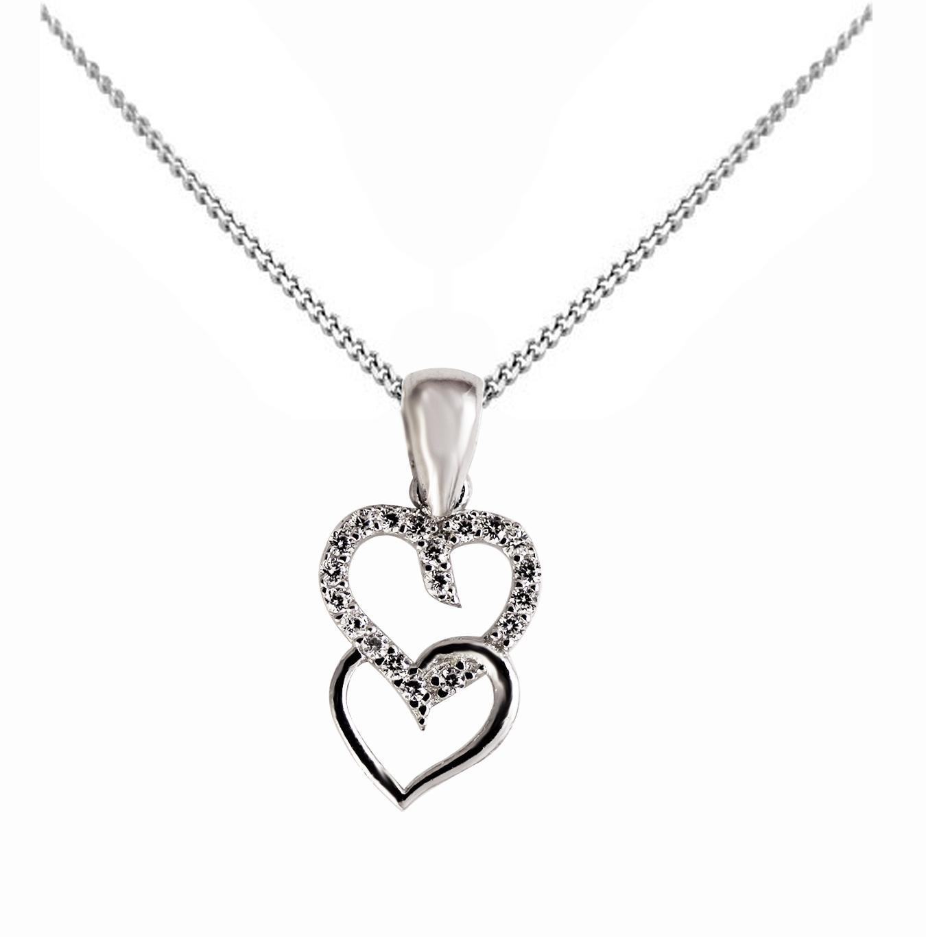 Stříbrný náhrdelník přívěškem ve tvaru srdce