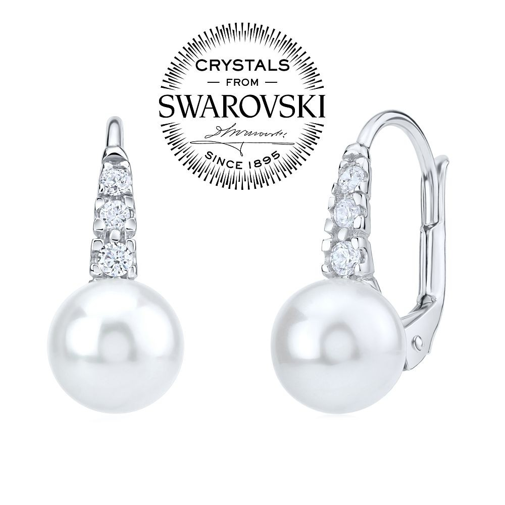 SILVEGO stříbrné náušnice s bílou perlou Swarovski® 8 mm