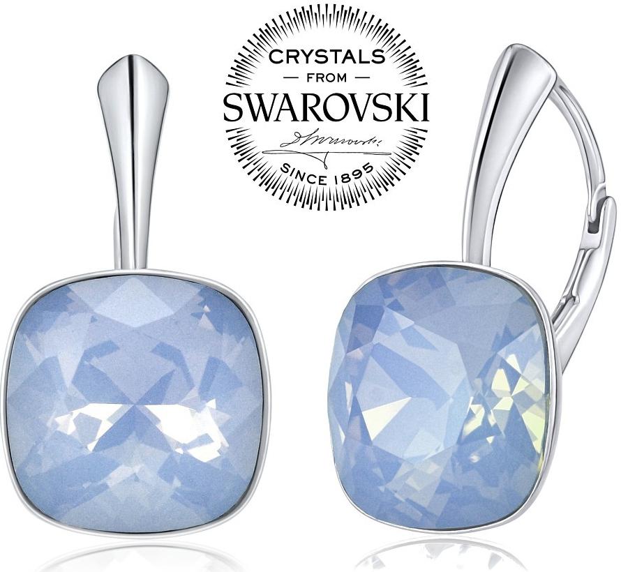 stříbrné náušnice se Swarovski Crystals modrým opálem VSW051E