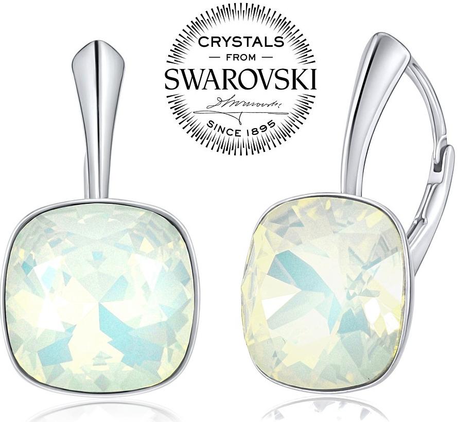 stříbrné náušnice se Swarovski Crystals modrým opálem VSW050E