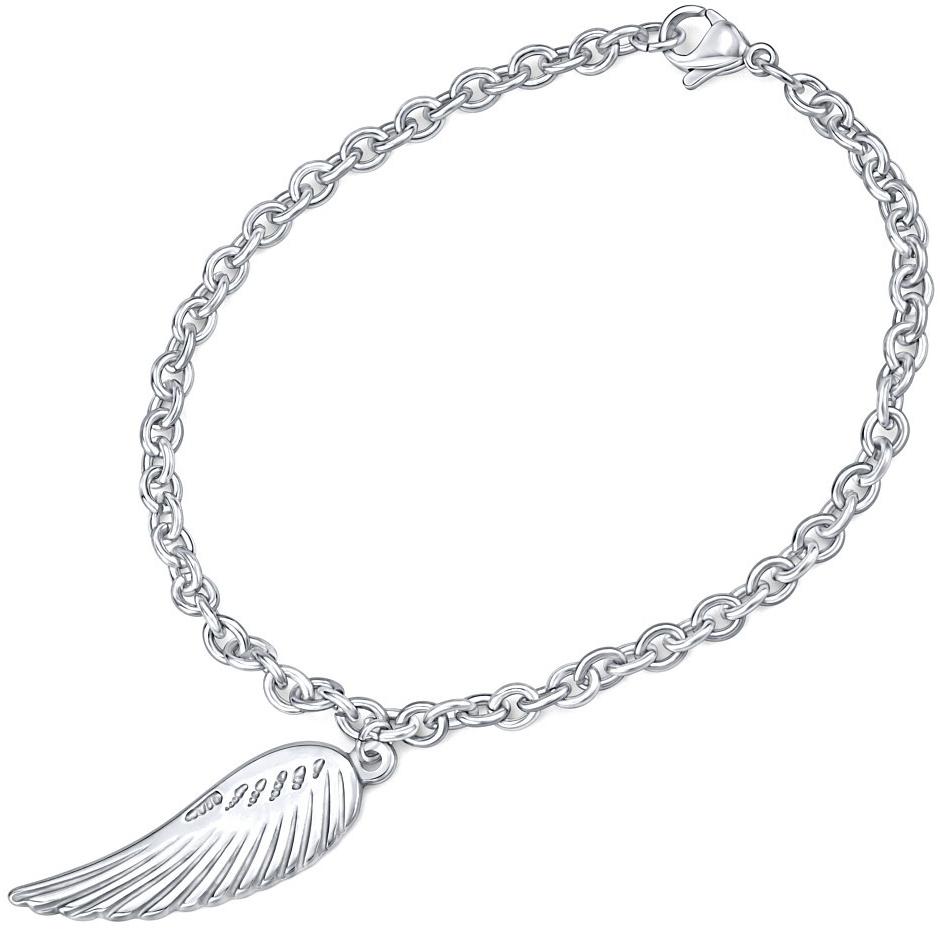 dámský náramek z chirurgické oceli s přívěskem křídla KMMB69550