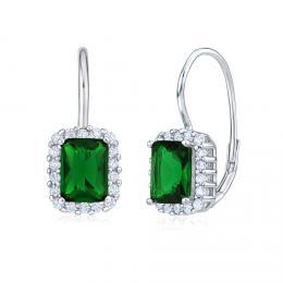 Stříbrné náušnice se smaragdově zeleným kamenem JJJE0531