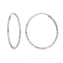 Stříbrné náušnice kruhy 40 mm SHZE113