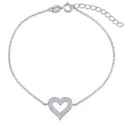Stříbrný náramek s přívěskem srdce JJJB0015