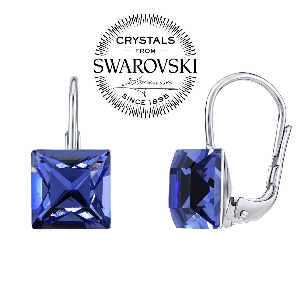 stříbrné náušnice se Swarovski® Crystals 8 mm safír SILVEGOB31474B