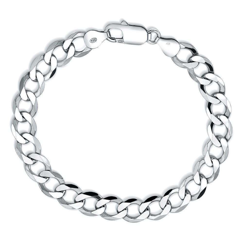 Stříbrný řetěz na ruku CURB 8,5mm - rhodiovaný TTT850BL