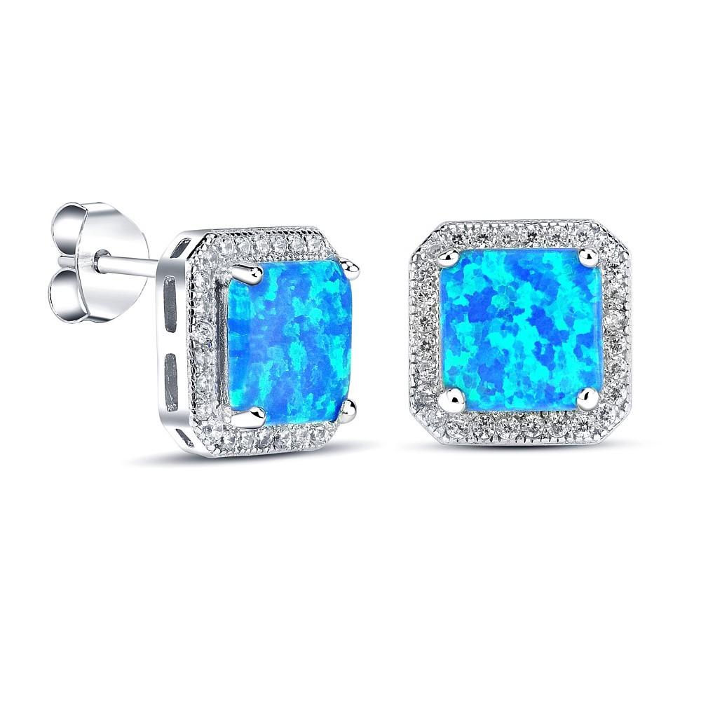 Stříbrné náušnice s modrým opálem JJJE0020C1